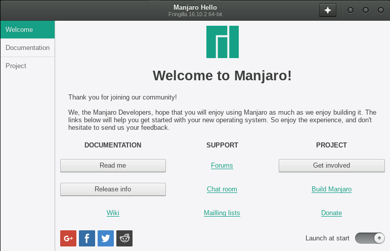 Manjaro Hello greeter