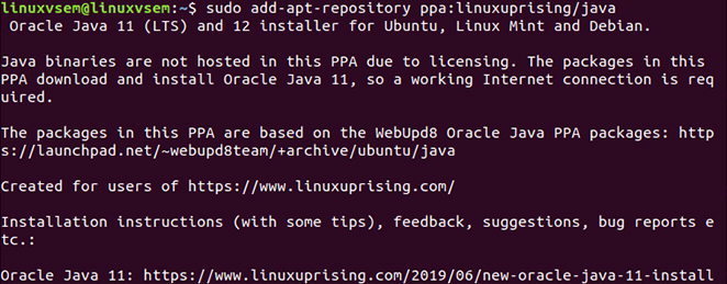 Java Linux sudo add-apt-repository ppa:linuxuprising/java